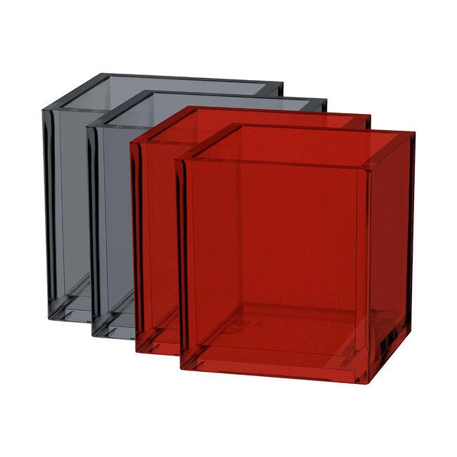 Vorteilspack Deko-Box (grau + rot transparent)